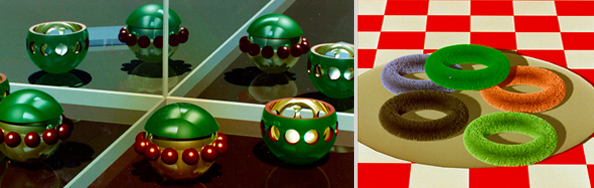 3D renderings of green spheres with mirrors, fuzzy rings on a plate on a checkered tablecloth