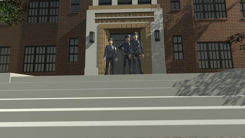 Still from VR experience showing three police officers standing in front of school doorway.