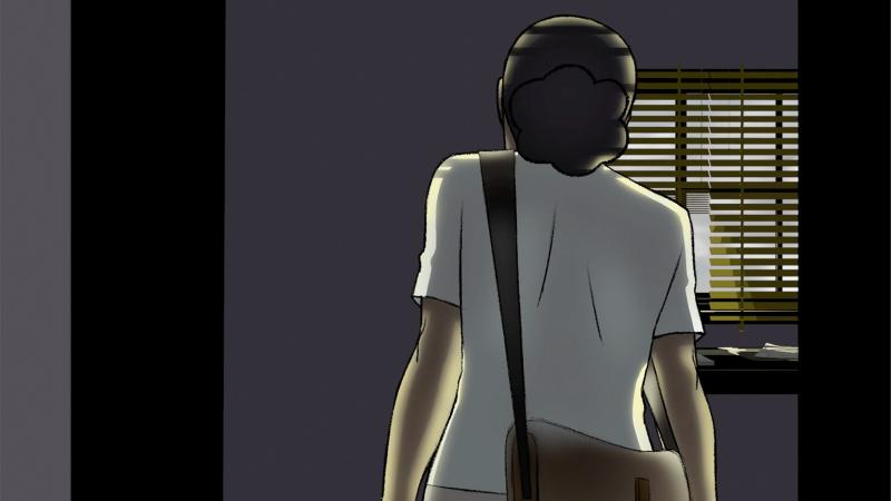 Still from animation showing Renee from the back as she enters her bedroom.