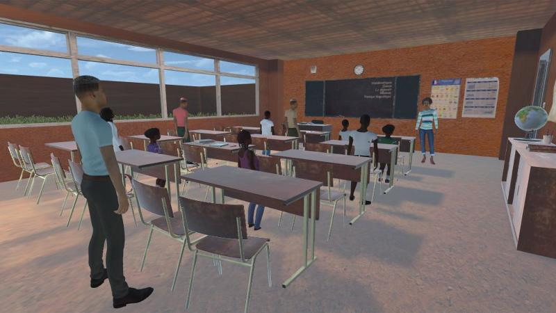 Still from VR experience showing the inside of a classroom