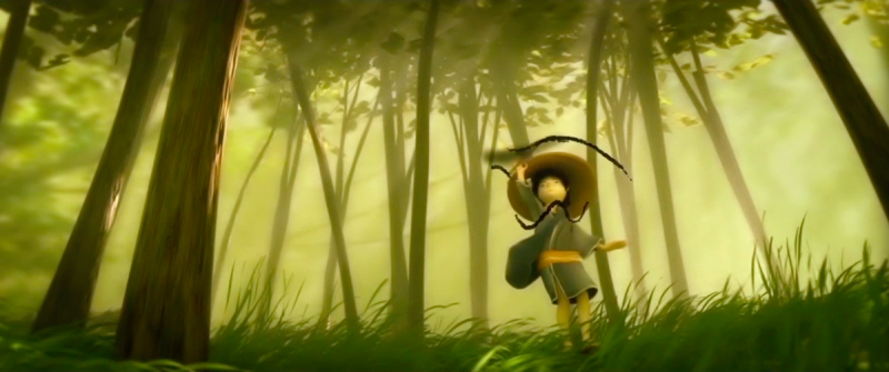 Still from The Boy Who Draws Cats of the boy walking in a forest