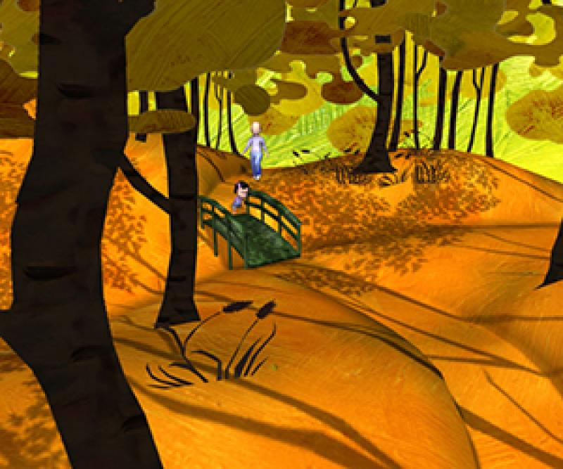 A parent and child walk through a colorful cartoon forest