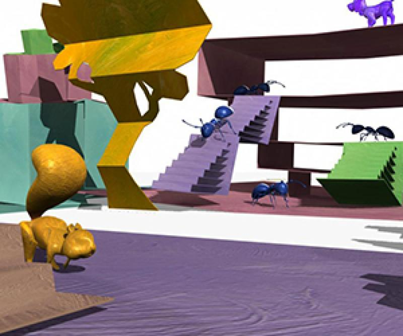 Cartoon ants, a squirrel, and a dog occupy a cartoon paper-cutout environment
