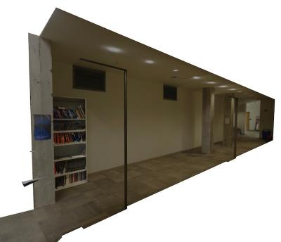 Virtual space of ACCAD hallway.