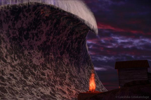 Still from SentiencE showing giant wave