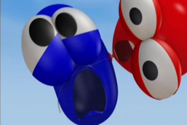 Red balloon yelling at blue balloon